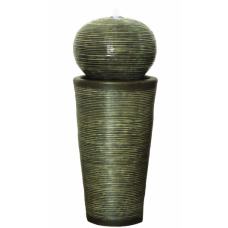 Green Ribbed Sphere on Column