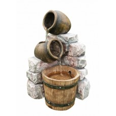 Medium 2 Pots & Wooden Barrel