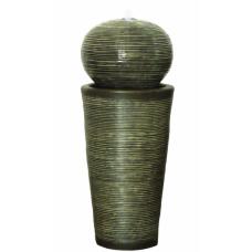 Green Ribbed Sphere on Column